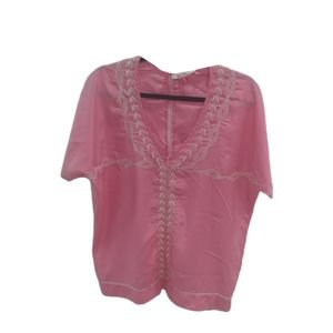 Miami Women's Embroidered V Neck Crochet Buttom Pink Sz M